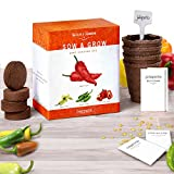 Grow 4 Pepper Varieties From Seed - Cayenne Pepper, Hot Jalapeno, Sweet Red Bell Peppers & Yellow Chili Organic Seeds. Indoor Growing Kit With Planting Pots, Potting Soil, Plant Markers & Grow Guide