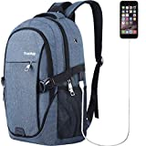 Laptop Backpack for Men Women Back Pack Waterproof College Computer daypacks teenagers's Travel bagpacks with External USB Charging Port & Built-in USB Charging Cable Business Backpacks