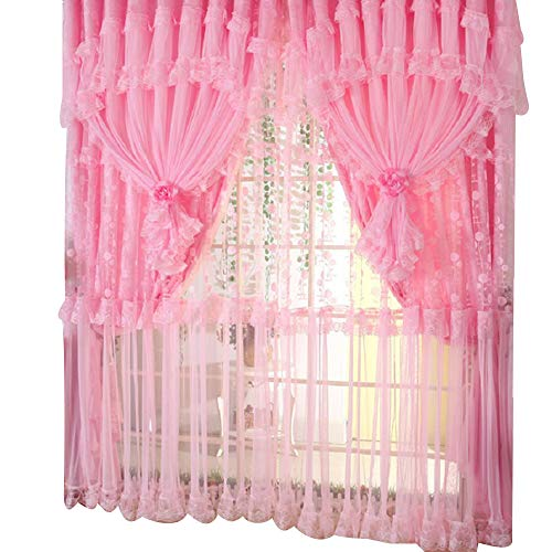 "Comforbed Jacquard Princess 4-Layer Ruffle Lace Embroidered Tulle Window Curtains Valances Panel Sheer for Living Room Bedroom Wedding Home Decor 118"" x 110"" (Style1, Pink)"