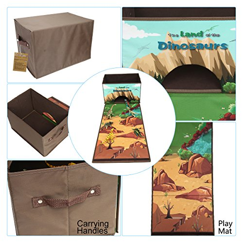 Livememory Dinosaurs Toy Box Kids Dinosaurs Storage Bins Play Mat Toys  Storage Box (Not Included Dinosaur Figures) Brown   Fancy Danielu0027s Toys,  Games, ...
