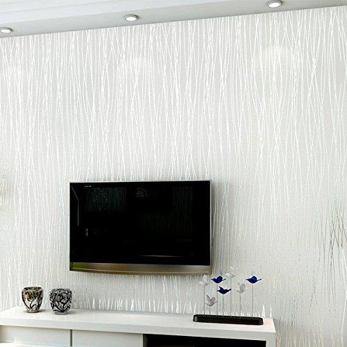 XGpie Modern Fashion Stripes Wallpaper White Minimalist Luxury Wall Covering Home Decoration 1.8Ft x 32Ft (57 sq. (Match Stripes Wallpaper)