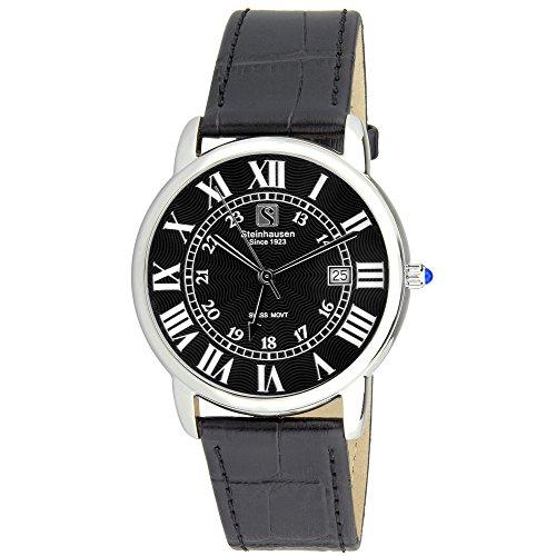 Steinhausen Men's S0719 Classic Delmont Swiss Quartz Stainless Steel Watch With Black Leather Band