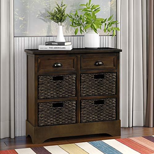 Storage Cabinet with 2 Drawers and 3 Baskets, Rustic Wooden Console Sofa Table/Storage Buffet Sideboard/EntrywayTable/Side Table for Kitchen, Dining Room, Entryway, Living Room (Brown)