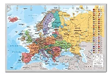 European map pinboard cork board with pins framed in silver wood european map pinboard cork board with pins framed in silver wood includes pins 965 gumiabroncs Image collections