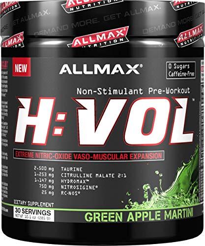 ALLMAX Nutrition HVOL Powder, Non-Stimulant Pre-Workout, Green Apple, 285g
