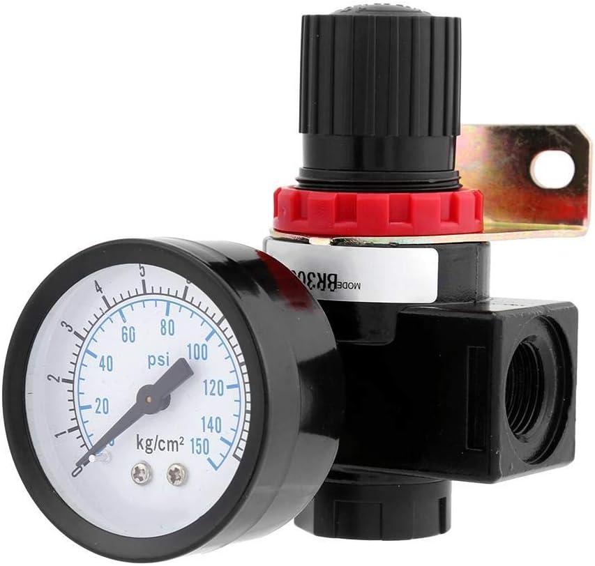 Yadianna Pressure Regulator BR3000 G3//8 0.05~1Mpa 40/μm Aluminum Alloy Air Control Compressor Pressure Regulating Regulator Valve with Gauge for Pneumatic System