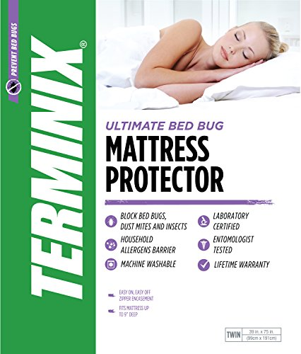 London Twin Bed (TERMINIX Ultimate Mattress Protector - 6-Sided Water-Resistant Zippered Encasement Blocks Bed Bugs, Dust Mites, Insects, & Allergens - Machine Washable - Lifetime Warranty - up to 11