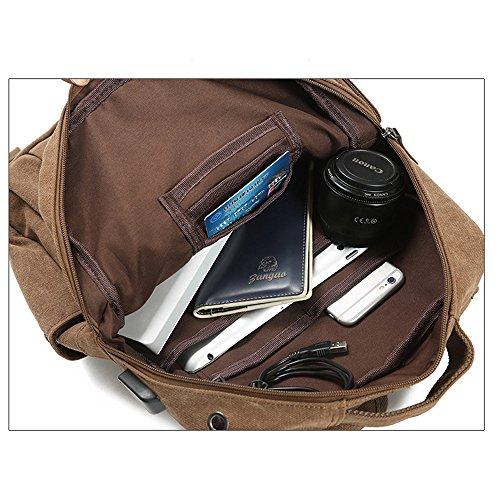 Uniqstore 15,6 inch Anti-Theft Wasserdicht USB Laptop Segeltuch Rucksack Schwarz Khaki