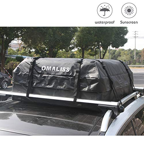 Omaliss Waterproof Car Roof Carrier Universal Soft Rooftop Bag Luggage Cargo Carriers Storage Box Sturdy Heavy Duty Straps Car Van SUV Racks, Travel Touring (15 Cubic feet Cars ()