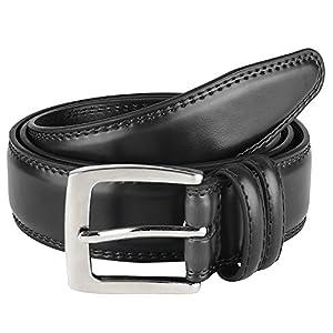 "Men's Dress Belt Leather ""ALL"" Genuine Leather 35mm - Black (Size 36)"