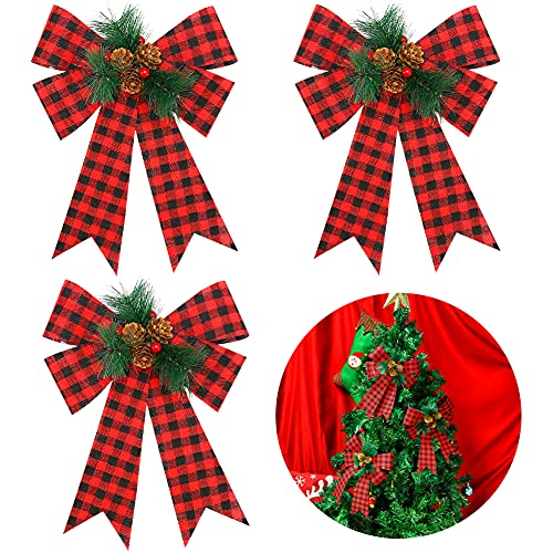 MCPINKY Christmas Bows Decor, 3PCS Buffalo Plaid Bows Wreath Ribbon with Pine Cones Pine Needles Berries and Ribbon for Christmas Tree Ornaments Holiday Crafts, 9 X 12 Inches