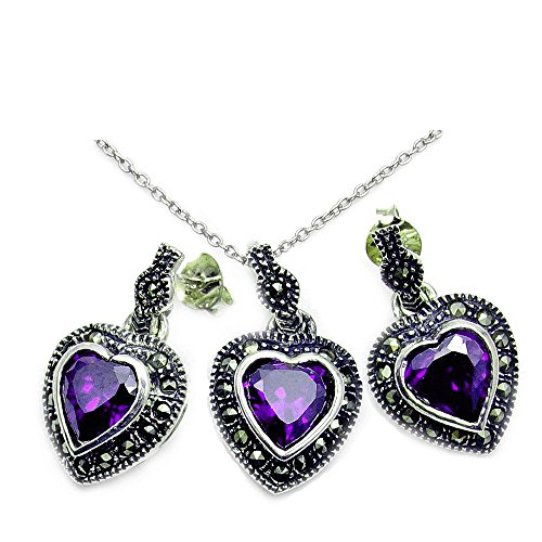 ♥ Queen of Hearts Sterling Silver Purple Cubic Zirconia, Marcasite Earrings & Pendant Necklace Set