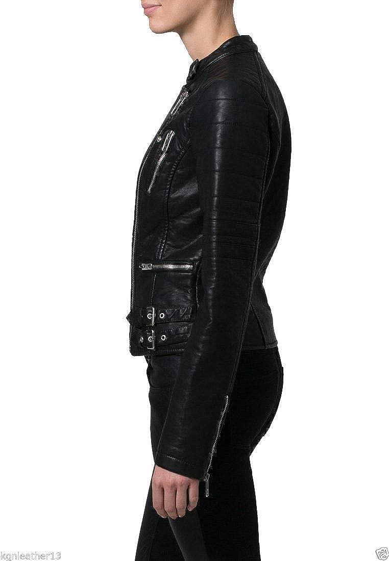 Koza Leathers Womens Lambskin Leather Biker Jacket KN0035