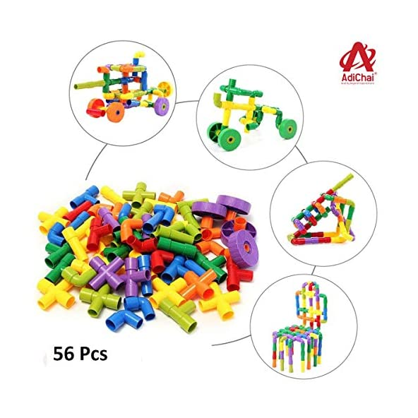 AdiChai Multi Coloured Educational Play and Learn Plastic Building Block Set Pipes Puzzle Set – Blocks for Kids ( 56 Pieces ) – Blocks Game
