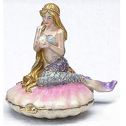 Home and Holiday Shops Mermaid on Sea Shell Enamel Jewelry Trinket Keepsake Box Container Sea Life New ()