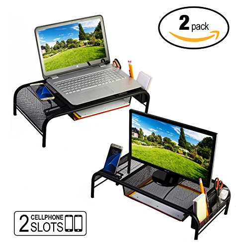 Monitor Stand Riser, Mesh Metal Desktop For Computer/Laptop TV Printer With Pull Out Drawer. New Design With Two Cellphone Slots. Two Compartments For Storage Organizer. Black 2-Pack By House Ur (Pull Out Notebook Shelf)