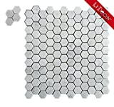 #4: Sample Italian Bianco Carrara White Marble 1 In. Hexagon/Honeycomb Mosaic Tile Wall Floor Decorative Bathroom Kitchen Backsplash Tiles, Honed