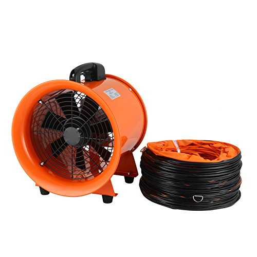 - OrangeA Utility Blower 12 Inch 0.7HP 2295 CFM 3300 RPM Portable Ventilator High Velocity Utility Blower Fan New Style Stand Ventilator Fume Extractor with 5M Duct Hose