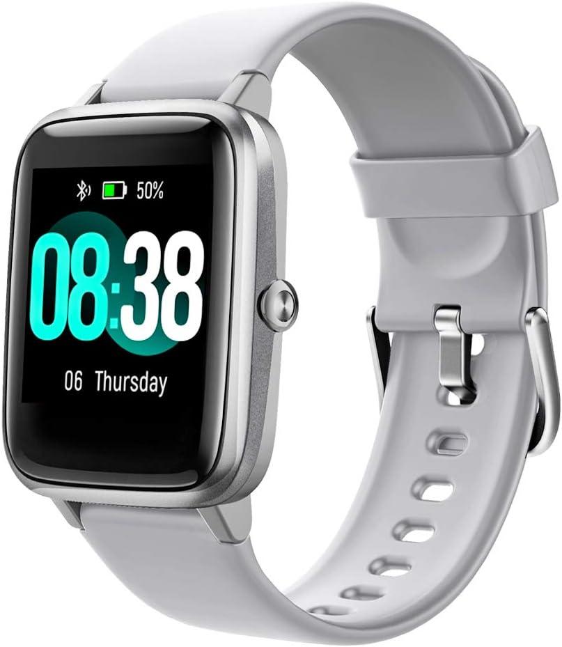 YONMIG Reloj Inteligente Mujer y Hombre, Smartwatch Impermeable IP68 Pulsera Actividad Deportivo con Monitor de Sueño, Pulsómetro, Pantalla Táctil Completa Reloj Fitness para Android y iOS(Gris)