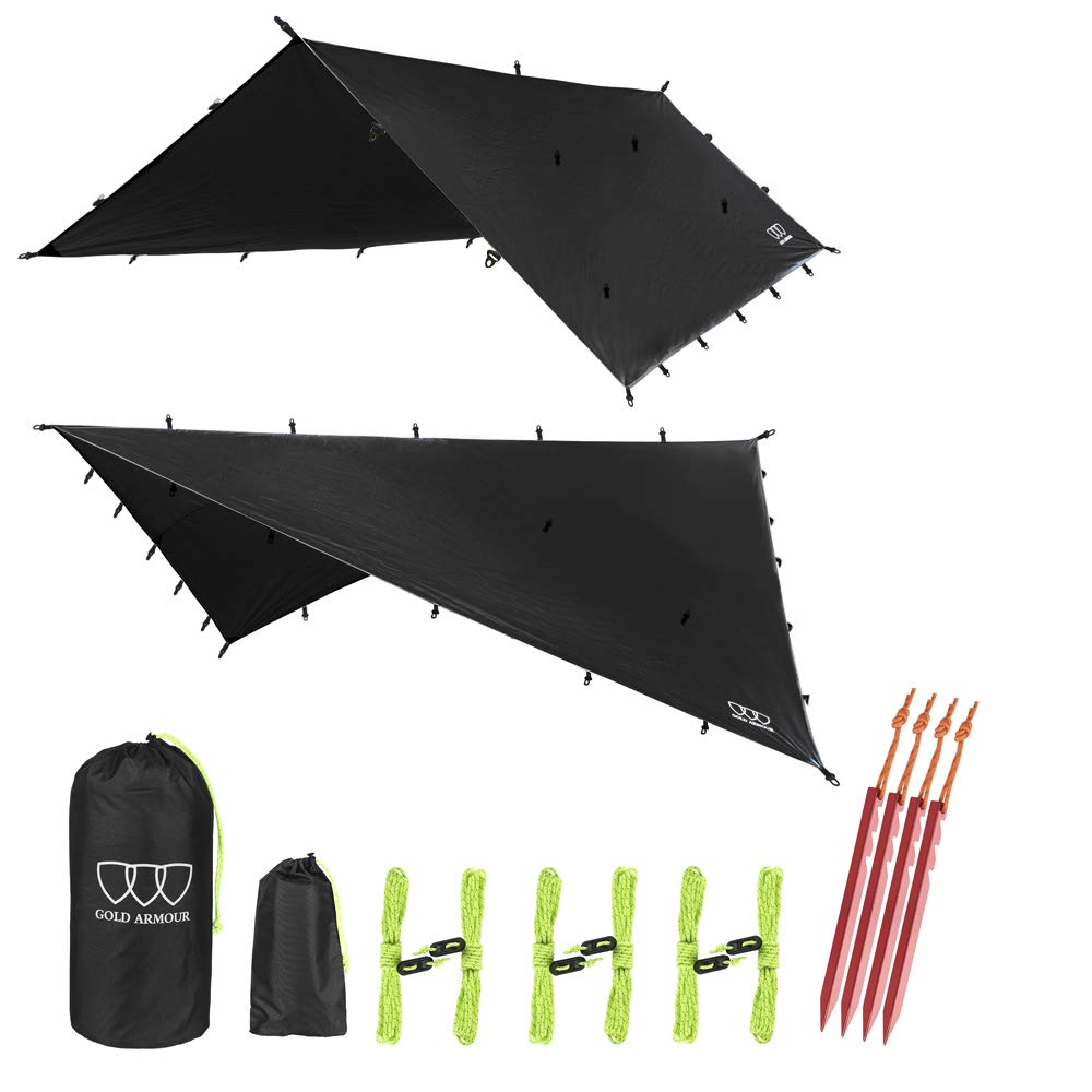 Gold Armour 12ft Extra Large Tarp Hammock Waterproof Rain Fly Tarp 185in Centerline - Lightweight Ripstop Fabric - Stakes Included - Survival Gear Backpacking Camping Accessories (Black) by Gold Armour