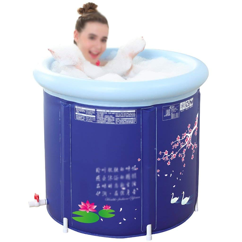 Folding Bathtub, Plastic Bathtub Thickening Increase Folding Bath Tub Bath Bathtub Showering Bucket Free Inflatable Tub GAOFENG (Color : Blue, Size : 6570cm)