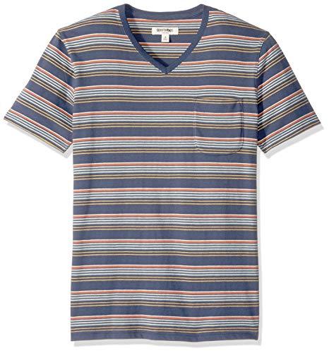 Gradient Stripe - Goodthreads Men's Short-Sleeve Sueded Jersey V-Neck Pocket T-Shirt, Navy Gradient Stripe, Large