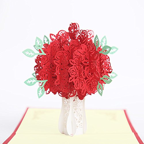 Christmas 3D Rose Flower Postcard, Valentines Pop Up Greeting Card, Mother's Day Gift (Rose -