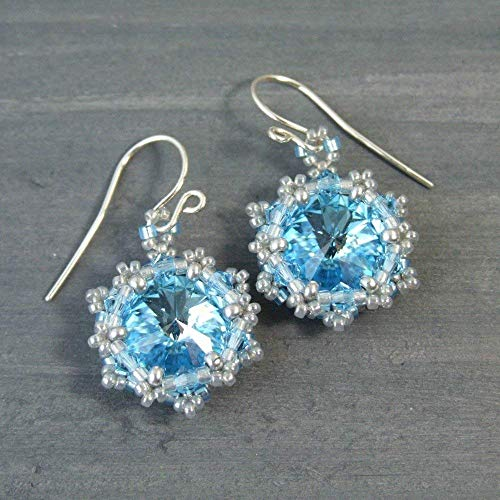 Aquamarine Blue Crystal Beadwork Beaded Dangle Drop Earrings Made with Swarovski Elements - Handmade Sterling Silver Vintage Style Jewelry for Women Gifts
