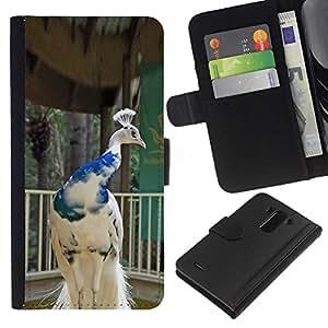 A-type (Peacock Bird Porcelain White Blue Crown) Colorida Impresión Funda Cuero Monedero Caja Bolsa Cubierta Caja Piel Card Slots Para LG G3
