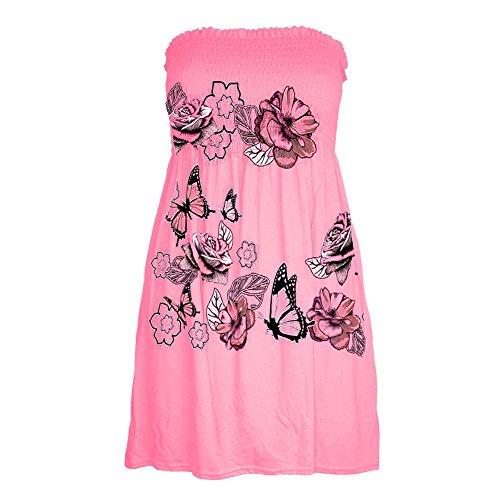 Nouvelles Femmes Papillon Pure Floral Bandeau Imprimé Télé Haut Mini Robe Évasée Rose Rose