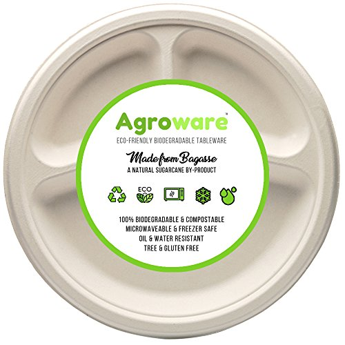 AgroWare 10 Inch 3 Compartment Pack of (50) Heavy Duty Disposable Tree-Free Plates 100% Natural Eco-Friendly Sugarcane Biodegradable Compostable Bagasse Plates, 100% Gluten Free