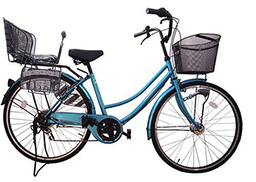 Lupinusルピナス 驚きの値段で 自転車 26インチ 日本限定 LP-266UA-KNR-B 軽快車 後子乗せブラック ライトブルー B073LRSP5F シマノ外装6段ギア オートライト