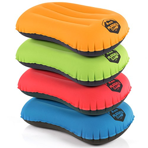 Rugged Camp Camping Pillow - Inflatable Travel Pillows - Multiple Colors - Compressible, Lightweight, Ergonomic Head Neck Support Camping Plane Travel - Lumbar Back Support