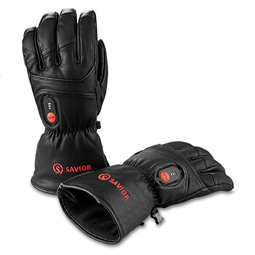 Savior Heated Gloves with Rechargeable Li-ion Battery Heated for Men and Women, Warm Gloves for Cycling Motorcycle Hiking Skiing Mountaineering, Works up to 2.5-6 hours (XL)