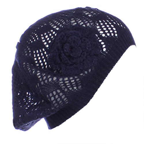 Beret Knit Pattern (AN Navy Blue Beret Beanie Hat Mini Square Pattern Flower Venting Cut Outs)