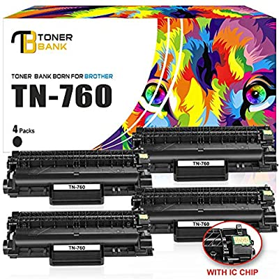 Toner Bank (with CHIP) 4Pack Compatible Brother HLL2395DW HL-L2350DW TN760 TN-760 TN730 TN-730 Toner Cartridge Brother HL-L2370DW HL-L2370DWXL HL-L2390DW DCPL2550DW MFCL2710DW MFCL2750DW MFCL2750DWXL