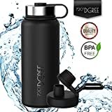 720°DGREE Thermo Water Bottle noLimit – 950ml, Black | Leakproof Stainless Steel Insulated Vacuum Flask + Free Sports Cap | BPA Free | Perfect for Gym, Camping, Outdoor, Hiking, Children, Kids