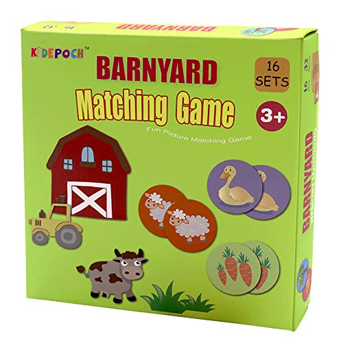 Memory Match Game – 16 Matching Pairs Preschool Memory Games Featuring Barnyard Element, Non Toxic Educational Memory Matching Game, Perfect for Kids, Toddlers, 2 Year Old or ()