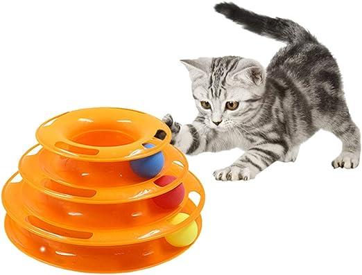 Juguetes Para Perros Juguetes De Mascota Juguete Interactivo Para Mascotas Gato De Tres Capas Plataforma Giratoria Juego De Rompecabezas Para Mascotas Torre Divertido Disco De Juguete Para Gatos: Amazon.es: Productos para mascotas