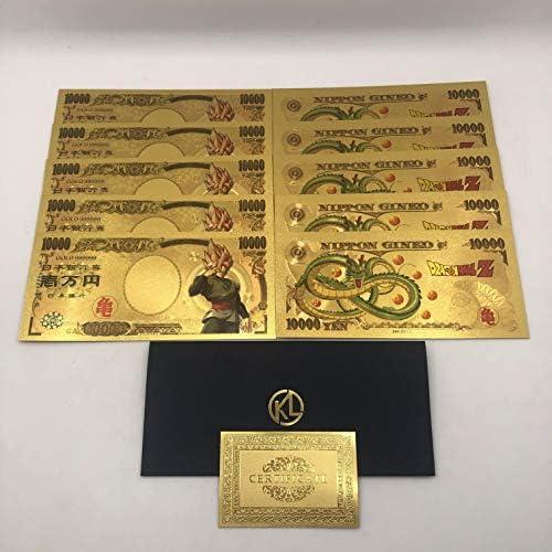 CHENTAOCS 古典的な子供の頃の記憶のコレクションのための10pcs /ロットピカチュウ10000円ゴールドプラスチック紙