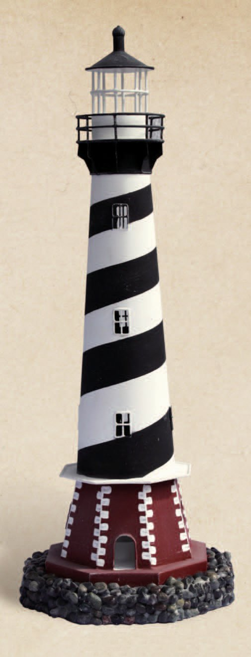 Decorative Black & White Cape Hatteras Tin Lighthouse Nautical Candle Holder by HS (Image #1)