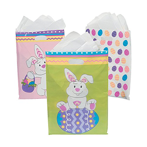 Goody Bags 50 Piece - Fun Express Plastic Easter Goody Bags- 50 Pieces