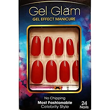 Kiss Gold Finger Gel Glam 24 Nails GFC05 RED