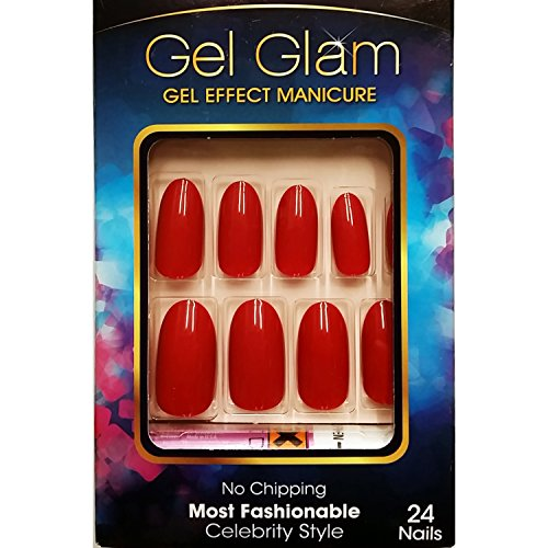 Kiss Gold Finger Gel Glam 24 Nails GFC05 (Fake Red Nails)