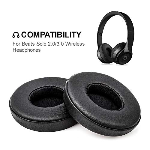 Headphone Earpads Replacement Foam Ear Pads Memory Foam Cushion Cover for Beats Solo 2.0, 3.0 Wireless Headphone (2 Pieces, Black)