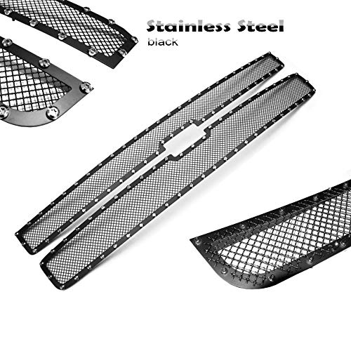 2pcs Black Mesh Grille Grill Upper Stainless Fit 2007-2010 Chevy Silverado ()