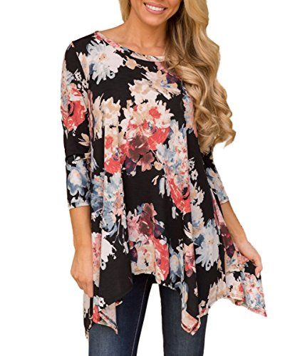 MIROL Women's Fall Floral Print 3/4 Sleeve Irregular Hem Asymmetrical Tunic Loose Long Blouse Tops (Large, Black)