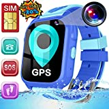 [SIM Card Include] Kids Smart Watch- Real GPS Tracker Waterproof Smart Watch Phone for Boys Girls with Fitness Tracker Pedometer Camera Alarm Clock for Kids Back to School Birthday Gifts (Blue)