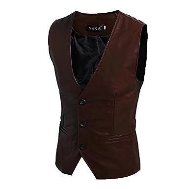 7732916c15bf Homme Gilet en Cuir Pourpoint Veste sans Manches Chemise Mince de Corp  Caparaçon Clubwear ...  Amazon.fr  Vêtements et accessoires