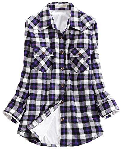 Chouyatou Women's Winter Fleece Lined Plaid Flannel Buttoned Shirt (Small, ()